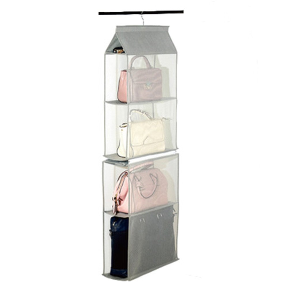 ZARO 2 In 1 Hanging Shelf Garment Organizer for Bags Clothes, 4 Shelves Practical Closet Purse Storage CollapsibleSpace Saver Accessory Breathable Mesh Net with Hooks Hanger Easy Mount-Gray