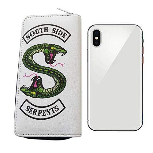 iwobi Portafoglio con Cerniera Donna,Borsa del Riverdale Portafoglio Lungo in Pelle,Serpente Verde