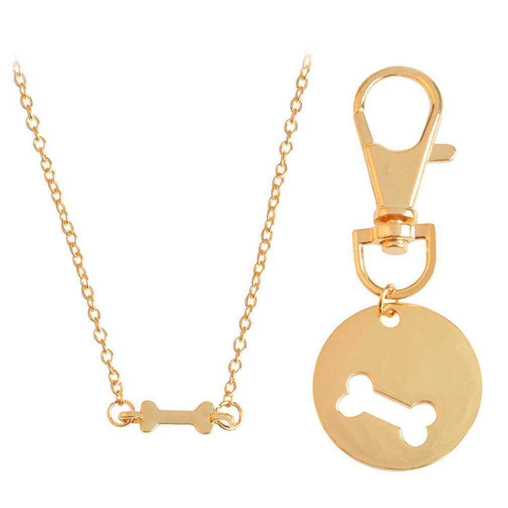4EAELove Engraved BFF Necklace Keychain Round Bone Matching Necklace Collar Dog Human Dog Lover Gifts Set Pet Lover Gold Plated