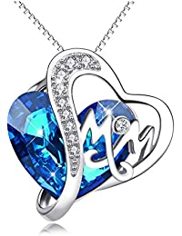 925 Sterling Silver Mom Necklace with Blue Heart Swarovski Crystals Mothers Birthday Jewelry Gifts