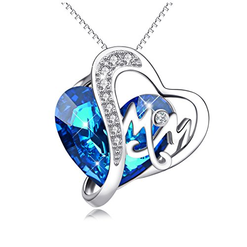 (AOBOCO Mom Necklace 925 Sterling Silver Pendant Necklaces with Blue Heart Swarovski Crystals Jewelry for Mom Birthday Gift Mother in Law Gifts for Mother-to-be Grandmom)