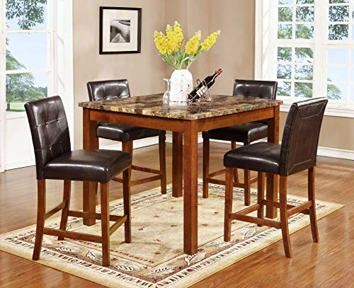 Mollai Collection 5 Piece CounterHeight Marble Top Table with 4 Espresso Leather Chairs- Light Brown ()
