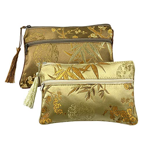 Gold Fortune 2PCS Silk Brocade Padded Tassel Double Zipper Jewelry Pouch Drawstring Coin Purse Gift Bags Value Set (Assort Color 6)
