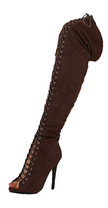 Jela London Overknee Stiefel High Hills Boots Velours Kunstleder gefüttert  Schnürung Gr. 36-41 201afc36cb