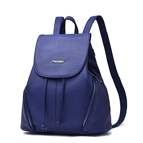 Mujer Diseñador Bolsos De Hombro Señoras Cuero Pu Mochila Bolsa Para La Escuela Viajar Al Aire Libre Bolso (Color : Gris) Azul