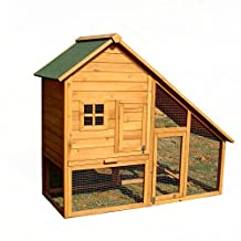 ALEKO® 55x26x47 Inches Wooden Pet House Poultry Hutch, Rabbits Chickens Hen Coop Wooden Cage