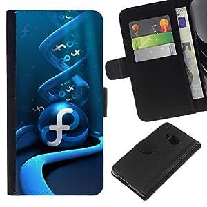 Planetar® Modelo colorido cuero carpeta tirón caso cubierta piel Holster Funda protección Para HTC One M9 ( Abstract Blue Swirl )