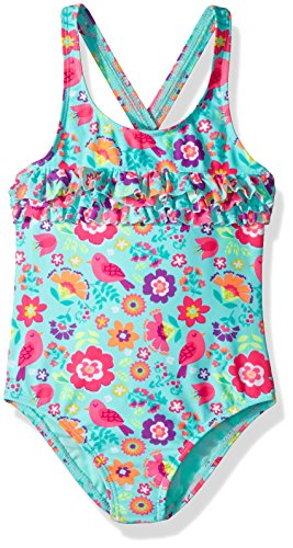 Angel Beach Little Girls Floral and Bird Print One Piece Ruffle Swimsuit, Multi, 5