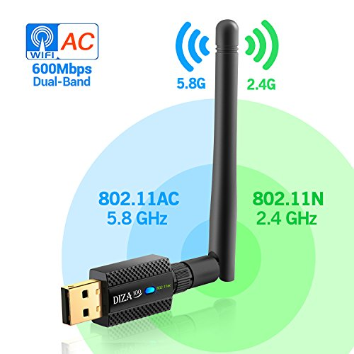 USB WiFi Adapter AC600Mbps 2.4G/5G Dual Band 802.11 ac/a/b/g/n,Dongle with External Antenna USB Wireless Adapter for Desktop/PC,Supports Windows XP/Vista/7/8/10,Mac OSX 10.6-10.13
