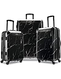 Moonlight Hardside Expandable Luggage with Spinner Wheels, Black Marble, 3-Piece Set (21/24/28)