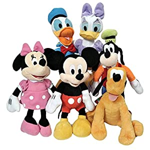 Disney 11″ Plush Mickey Minnie Mouse Donald Daisy Goofy Pluto Clubhouse 6-Pack + Stickers