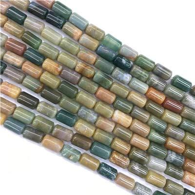 Calvas 78PCS Natural Stone Cylinder Beads Natural Stone Tube Loose Beads Opal Agates Roses Quartz Necklace Bracelet Making 610mm - (Color: Indian Agate)