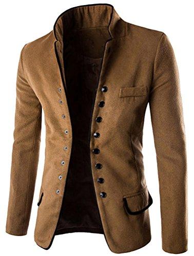 Single En Fit Veste Manteau Blouson Debout Marron Parka Laine Brinny Homme Noir Blazer Coat breasted Col Slim xqzwnXnS7