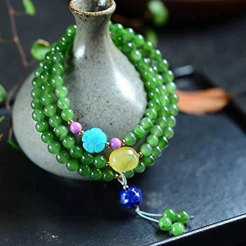 (MGZDH 6mm Natural Jasper Three Circle Bracelet with Purple Jade Lapis Lazuli Wax Multi-Circle Hand)