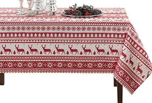 BENSON MILLS Nordic Christmas Herringbone Printed Rectangle Tablecloth, 60 by 120-Inch -