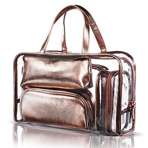 NiceEbag 5 in 1 Cosmetic Bag & Case Portable Carry on Travel Toiletry Bag Clear PVC Makeup Quart Luggage Pouch Handbag Organizer for Men and Women (Rose ()