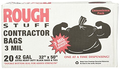 20 Bag 1 Box (Rough Stuff 42 Gallon 3 Mil Contractor Bags 1 box 20)