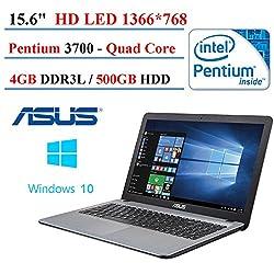 2017 ASUS VivoBook X540SA 15.6-Inch High Performance Premium HD Laptop (Intel Quad Core Pentium N3700 Processor up to 2.4 GHz, 4 GB RAM, 500GB HDD, Windows 10) Silver (Certified Refurbished )