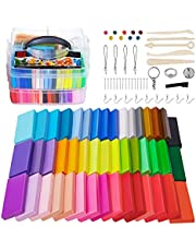 Polymer Clay Starter Kit, ifergoo 46 Colors Modeling Clay DIY Oven Bake Clay 28g/Block Total 1.28kg, 5 Shaping Tools, Accessories Pack and Project Booklet, Brithday Gift for Boys, Girls & Kids