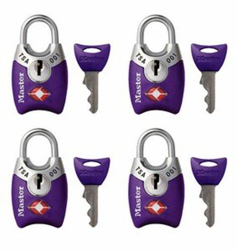 Master Lock 4689Q TSA Accepted Padlocks with Keys 4-Pack (Colors May Vary)>