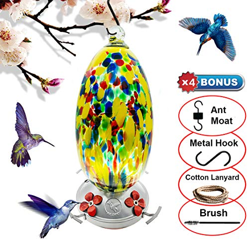 (REZIPO Hummingbird Feeder with Perch - Hand Blown Glass - Yellow - 37 Fluid Ounces Hummingbird Nectar Capacity Include Hanging Wires and Ant Moat)