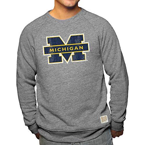 Retro Crewneck Sweatshirt - Elite Fan Shop Michigan Wolverines Retro Triblend Crewneck Sweatshirt Gray - L