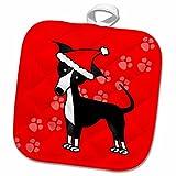3dRose Janna Salak Designs Dogs - Cute Black Italian Greyhound Red with Santa Hat - 8x8 Potholder (phl_25375_1)