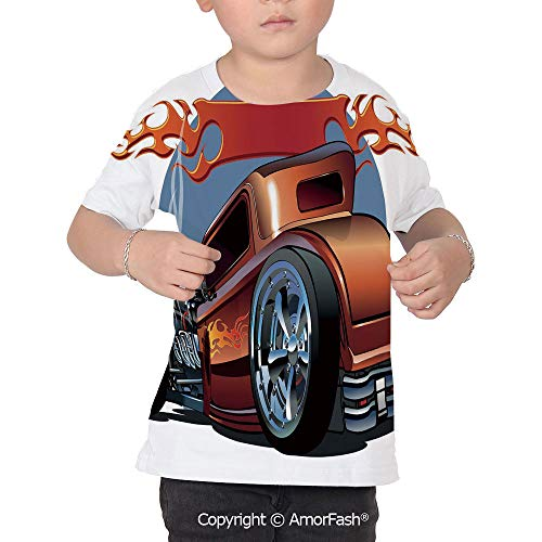 - Cars Distinctive Children's Premium Polyester T-Shirt,XS-2XL,Cartoon Hot Rod Ant