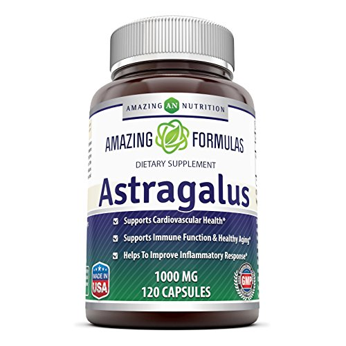 Astragalus Root Single (Amazing Formulas Astragalus All Natural Dietary Supplement – 1000 mg Capsule Capsules Made From Pure Astragalus Membranaceus Plant Root Extract - Made in the USA - 120 Capsules Per Bottle)