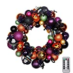 """V&M VALERY MADELYN 20"""" Pre-Lit Halloween Decoration Wreath with Naughty Treat-or-Trick Shatterproof Ornaments for Indoor and Outdoor,Rattan Base with 20 LED Lights Remote and Timer Included"""