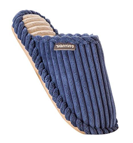 Cattior Heren Streep Comfortabele Warme Huis Slippers Zachte Pantoffels Blauw