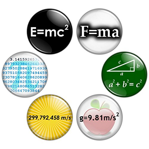 Button Bistro Mens Math & Science Geek 1.25 inch Pinback Button Set Badges Pins