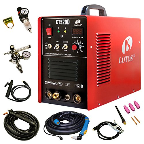 Lotos CT520D Plasma Cutter Tig Stick Welder 3 in 1 Combo Welding Machine, 50Amp Air Plasma Cutter,  200A TIG/ Stick Welder, Dual Voltage (220 Cutter)