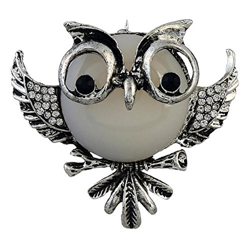 Owl Vintage Pins - Demarkt Brooch Pins,Vintage Owl Brooch for Wedding Party (Silver White)