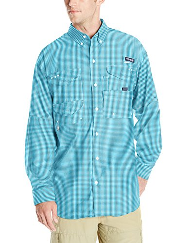 Columbia Mens Super Bonehead Classic Long Sleeve Shirt, Riptide Gingham, Medium