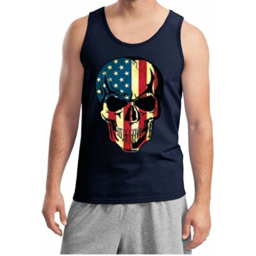 - Lucky Ride American Flag Skull Patriotic Tank Top Gym Workout USA Tank top, Navy, XL