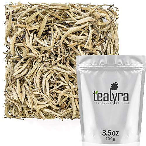 Organic Silver Needle White Tea - Tealyra - Imperial Yunnan Silver Needle - White Loose Leaf Tea - Organically Grown - Caffeine Level Low - 100g (3.5-ounce)