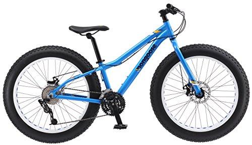 Mongoose Vinson Fat Tire Mountain Bike, Featuring Rigid 14-Inch Aluminum Frame, 24-Speed Shimano/SRAM X4 Drivetrain, Dual Mechanical Disc Brakes, and Alloy 24x4-Inch Wheels, Blue