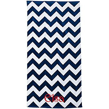 Personalized Chevron Beach Towels (Navy Blue)
