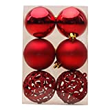 """Oxfox Christmas Ball Ornament Shatterproof 6 Pcs For Christmas Tree Parties Festival Decoration 2.36"""" 3.15"""" Red"""