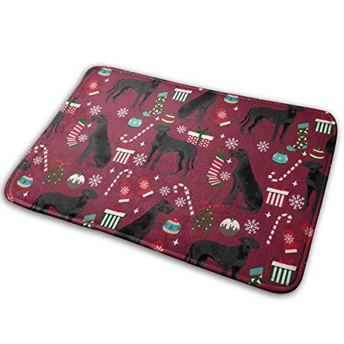 BestgoodsLTD Indoor Outdoor Door Mat Great Dane Black Christmas Stockings Candy Canes Dog Rug Floor Mats for Garage, Non Slip Backing