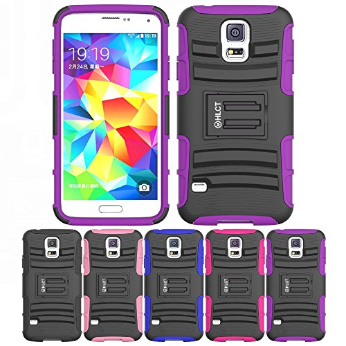 Price comparison product image Galaxy S5 Case, HLCT Rugged Shock Proof Dual-Layer PC and Soft Silicone Case With Built-In Kickstand for Samsung Galaxy S5 (2014) (Purple)