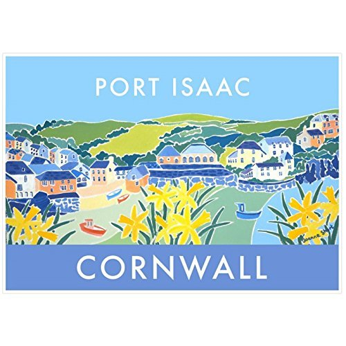 Cornish vintage style travel art poster print of St Mawes Harbour in Cornwall by artist Joanne Short.