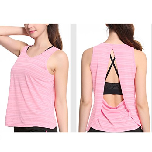 Zhhlinyuan Womens Fitness Quick-dry Sleeveless Tops Summer Loose Breathable Sport Vest Pink