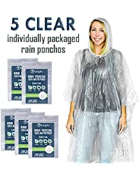 5 Pack Rain Poncho | Disposable Emergency Rain Ponchos for Men, Women & Teens | Assorted Colors with Individual Packaging | Extra-Thick & Heavy Duty!