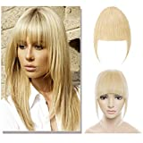 Clip in Bangs Remy Human Hair Extensions for Women One Piece Soft Thick Straight Hairpiece with Temple 3 Clips Accessories Full Neat Fringe 7''/18cm-Bleach Blonde #613