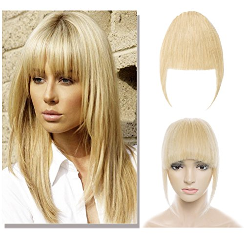 Hair Bangs Clip - Clip in Bangs Remy Human Hair Extensions for Women One Piece Soft Thick Straight Hairpiece with 3 Clips Accessories Full Neat Fringe 7