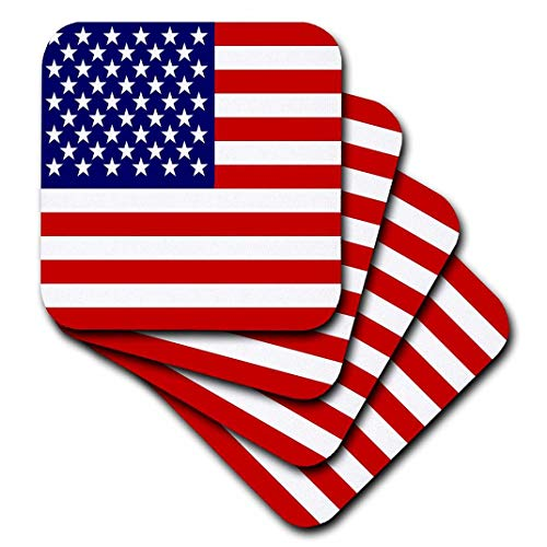 3dRose CST_112805_3 American Flag-Patriotic USA Stars and Stripes Red White and Blue-4Th July America Patriot-Ceramic Tile Coasters, Set of 4