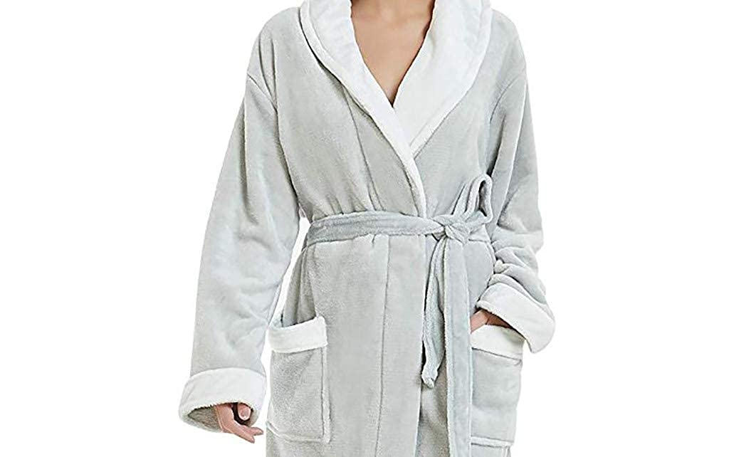 Goldatila Womens Bathrobes Ladies Lace-Up Hoodless Pajamas Comfort Women Gown Soft Plush Winter Nightgown Bath Robe Size S-5XL
