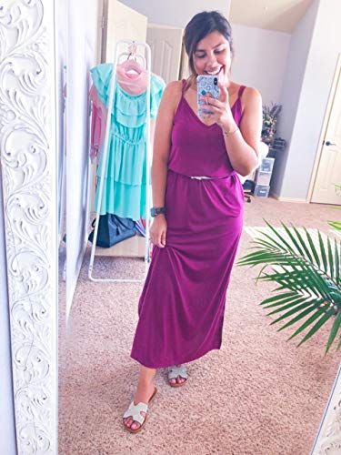 (LIYOHON Women's Summer Casual Loose Dress Beach Cover Up Plain Print Long Cami Maxi Dresses with Pocket (Large, Lucy))